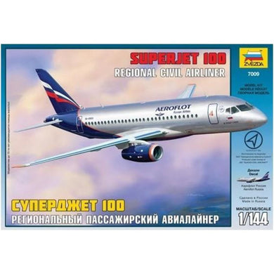 Zvezda 1/144 Aeorflot Superjet 100 Civil Airliner 7009