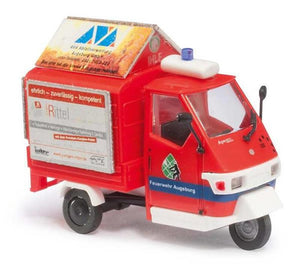 Busch 1/87 HO Piaggio Ape 50 Three Wheeler Fire Brigade 48474