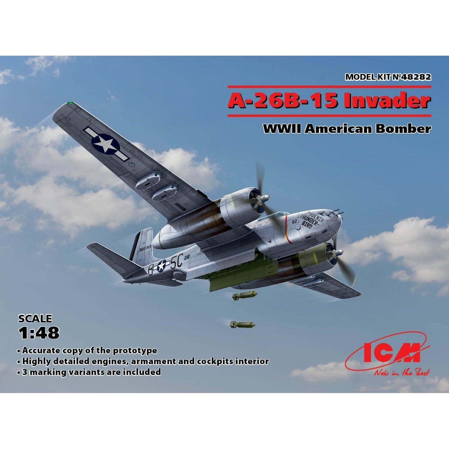 ICM 1/48 US A-26B-15 Invader WWII Plastic Kit 48282