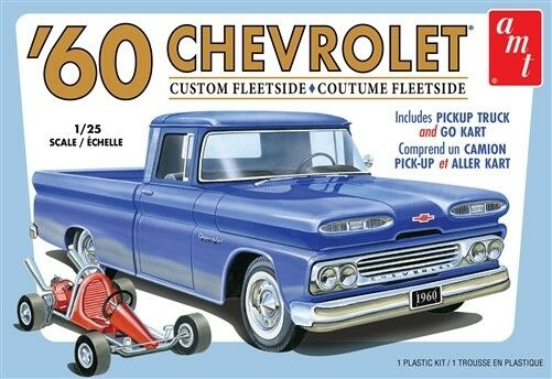 AMT 1/25 Chevrolet Custom Fleetside Pickup Truck 1960 w/ Go kart AMT1063