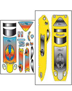 Pinecar P476 Pinewood Derby Hot Wings Template Stick-On Decals