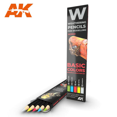 AK Interactive AK10045 Weathering Pencils For Models Basic Colors