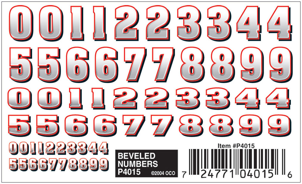 Pinecar P4015 Pinewood Derby Beveled Numbers Dry Transfer Decals