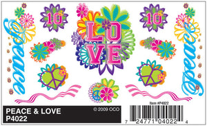 Pinecar P4022 Pinewood Derby Peace & Love Dry Transfer Decals