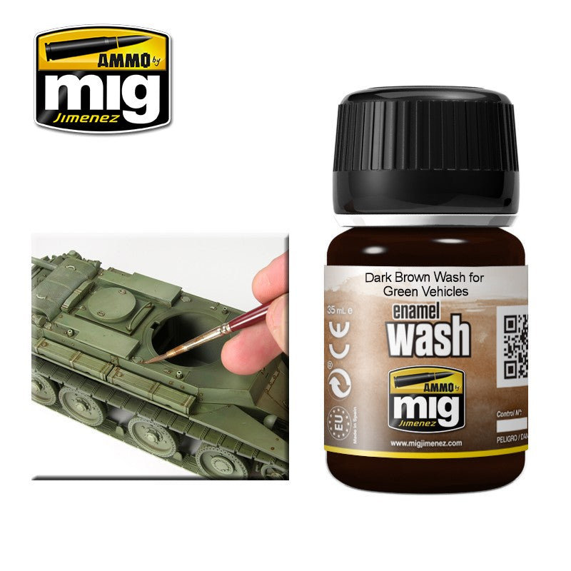 Ammo by Mig AMIG1005 Dark Brown Wash For Green Vehicles