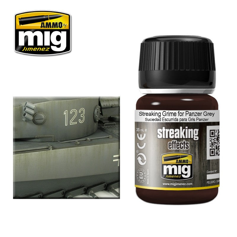Ammo by Mig AMIG1202 Streaking Effects, Streaking Grime For Panzer Grey