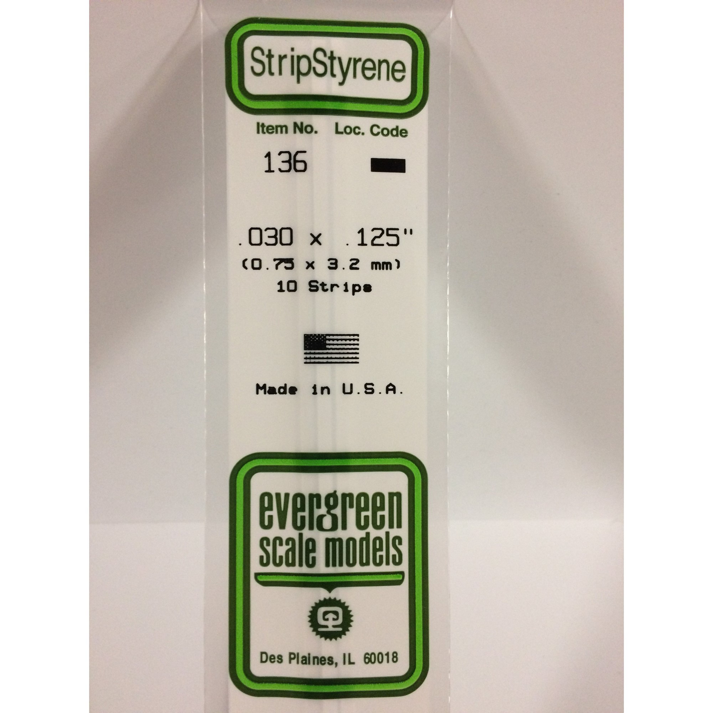 Evergreen Styrene Plastic 136 Strips 0.030