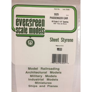 "Evergreen Styrene Plastic 3025 HO Passenger Car 2-1/4"" Spacing (1)"
