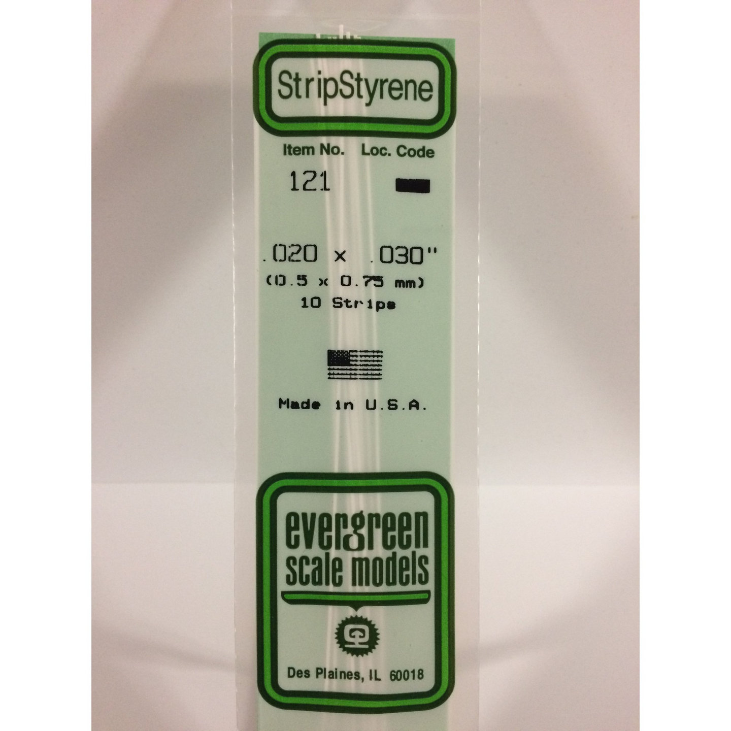 Evergreen Styrene Plastic 121 Strips 0.020