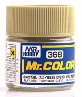 Mr. Hobby Mr. Color Lacquer C368 Flat 75% Sky BS381C/210 C368 10ml