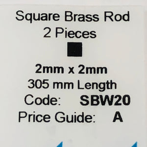 Albion SBW20 2mm x 2mm Square Brass Rod 2-PACK