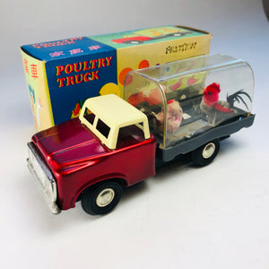 VINTAGE TIN FRICTION Poultry Truck MF958 Rooster & Hen ANNA432