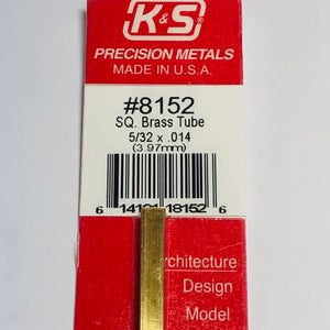 "K&S 8152 Square Brass Tube 5/32"" x 12"""