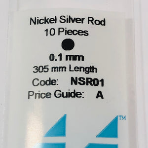 Albion NSR01 Nickel Silver Micro Rod 0.1mm 6-PACK