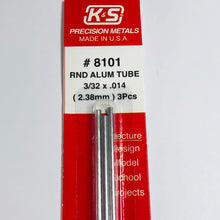 "Load image into Gallery viewer, K&S 8101 Aluminum Tube 3/32""x 12"" (3)"