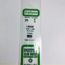 "Load image into Gallery viewer, Evergreen Styrene Plastic 275 I Beam 0.156"" 4.0mm x 14"" (3)"