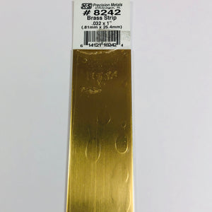 "K&S 8242 Brass Strip 0.032"" x 1"" x 12"""