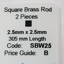 Load image into Gallery viewer, Albion SBW25 2.5mm x 2.5mm Square Brass Rod 2-PACK