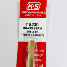 "Load image into Gallery viewer, K&S 8230 Brass Strip 0.016"" x 1/4"" x 12"""