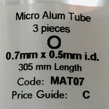 Load image into Gallery viewer, Albion MAT07 Aluminium Micro Tubing 0.7 mm x 0.5 mm i.d. 3-PACK