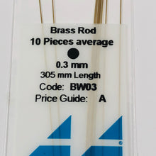Load image into Gallery viewer, Albion BW03 Brass Micro Rod 0.3 mm 10-PACK