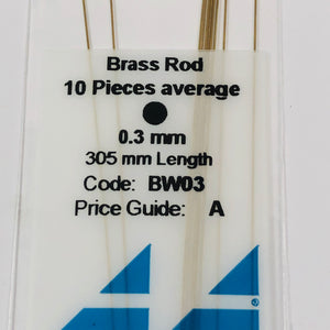 Albion BW03 Brass Micro Rod 0.3 mm 10-PACK