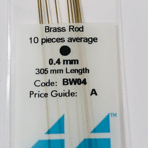 Albion BW04 Brass Micro Rod 0.4 mm 10-PACK