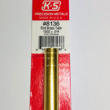 "Load image into Gallery viewer, K&S 8136 Round Brass Tube 13/32"" x 0.014"" x 12"""