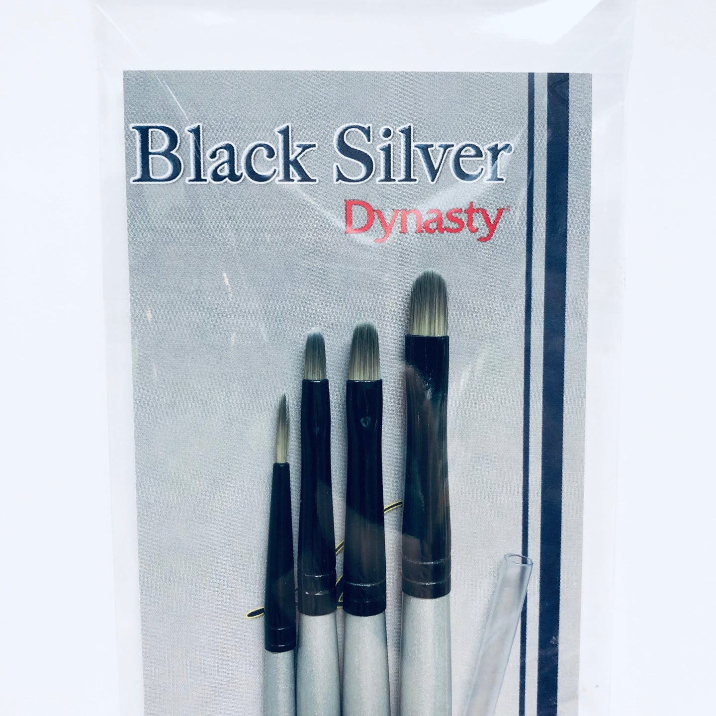 Dynasty Black Silver Paint Brush Set 3 BS-SH-3 (32883)