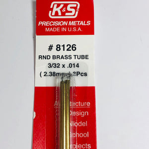 "K&S 8126 Round Brass Tube 3/32"" x 12"" (3)"