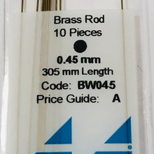 Load image into Gallery viewer, Albion BW045 Brass Micro Rod 0.45mm  10-PACK