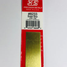"Load image into Gallery viewer, K&S 8233 Brass Strip 0.016"" x 3/4"" x 12"""