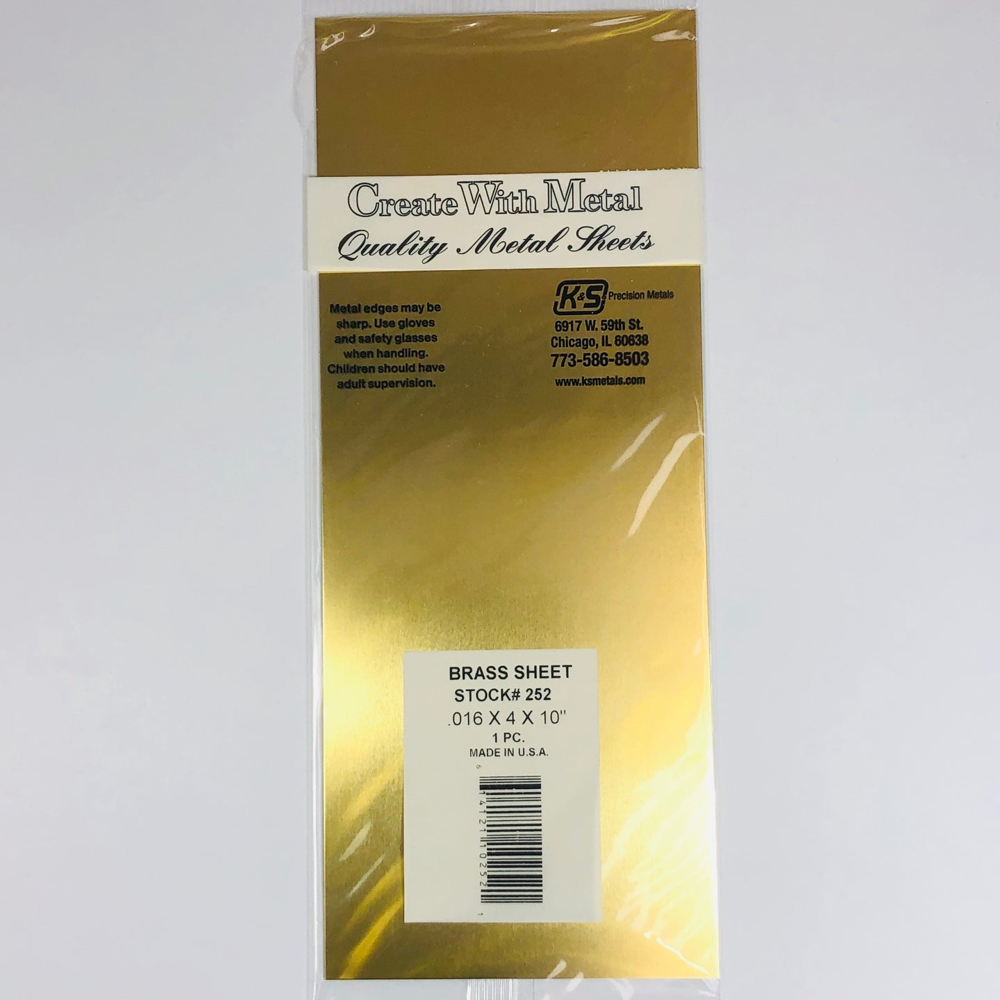 K&S 252 Brass Sheet 0.015