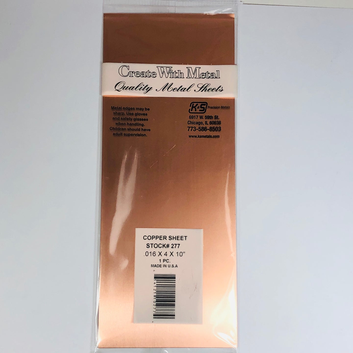 K&S 277 Copper Sheet 0.016
