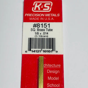 "K&S 8151 Square Brass Tube 1/8"" x 12"""