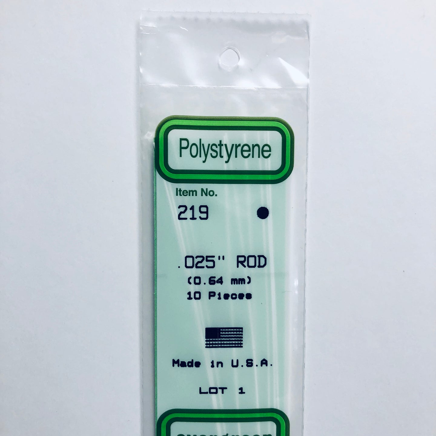 Evergreen Styrene Plastic 219 Rod 0.025