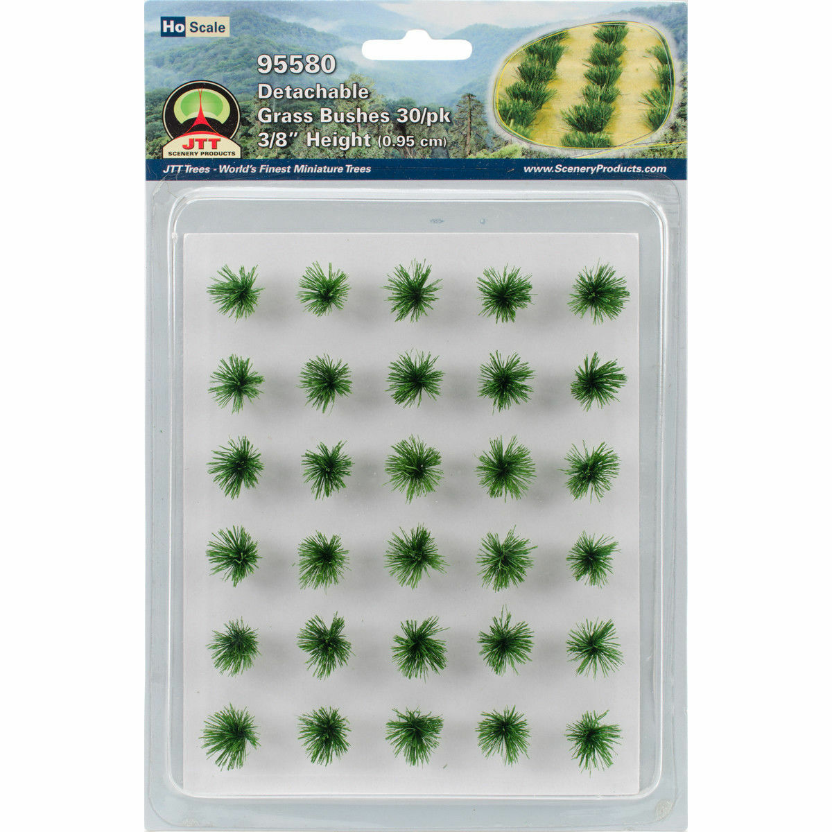 JTT HO Scale Detachable Grass Bushes 3/8