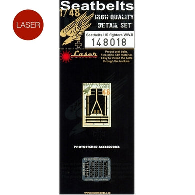 HGW 1/48 US Fighters WWII Microcloth/Photoetch Seatbelts 148018