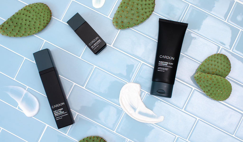 cardon skincare for men made with cactus extract to soothe skin irritation and hydrate dry skin