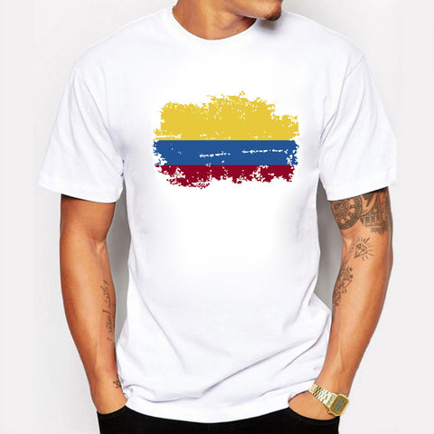 Colombian Flag T shirt, Short Sleeve Round collar