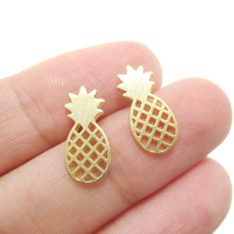 Elegant Cute Fruit Stud Earrings Brushed Pineapple