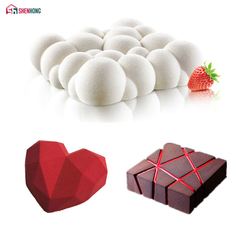 3PCS Art Cake Mould Pan 3D Grid Block Clouds Diamond Heart Silicone Baking - Azafran-Culinary-Store
