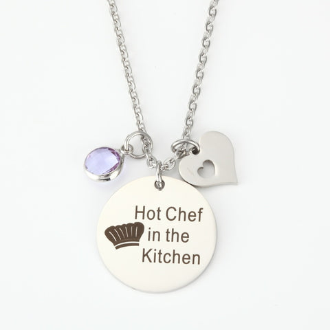 1pcs stainless steel Lover gift necklace lettering Hot Chef in the Kitchen, the Kitchen sexy Chef 25 mm pendants necklace