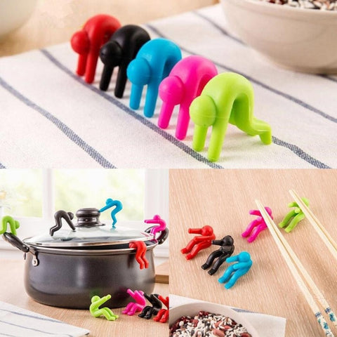 2pcs/set Multi-functional Silicone Holder - Spoon Rests Clips, in Man Shape