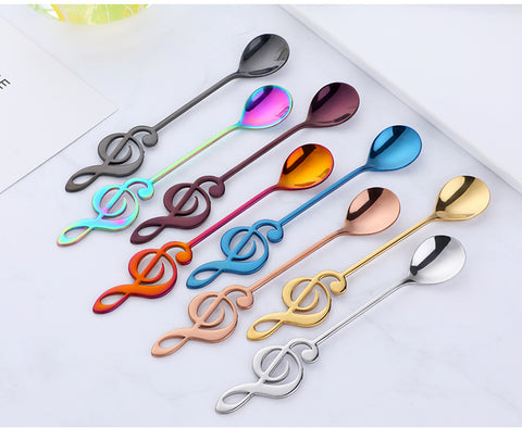 1 PCS - Stainless Steel Creative Spoon in Note Music Shape