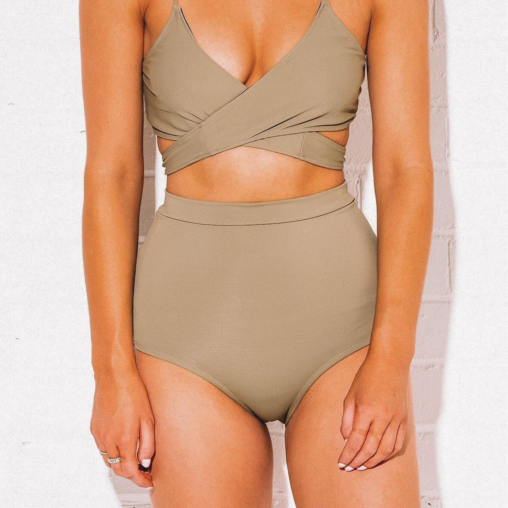 Olive High Waist Bikini Bottoms (SIZE: 1 XS REMAINING) - Bombshell Bay Swimwear