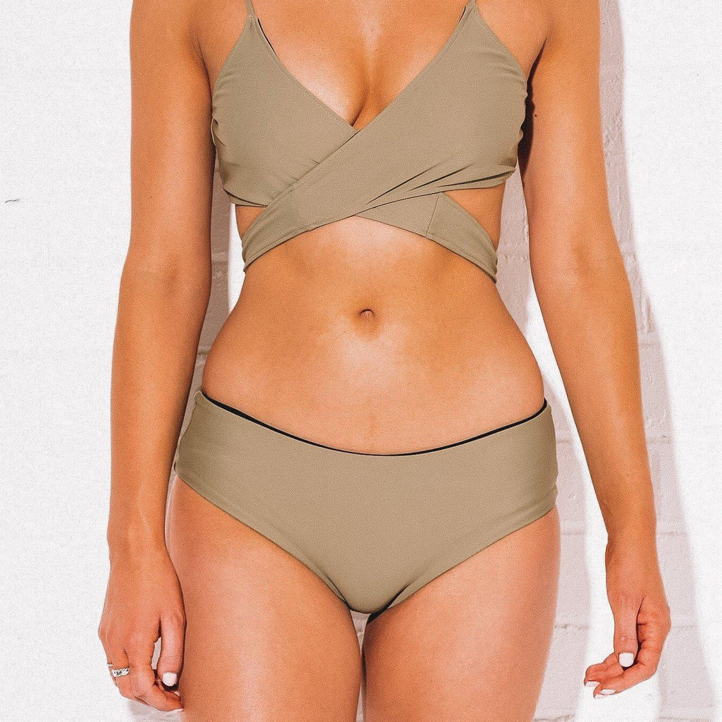 Olive Wrap Top (SIZE: XS & S REMAINING) - Bombshell Bay Swimwear
