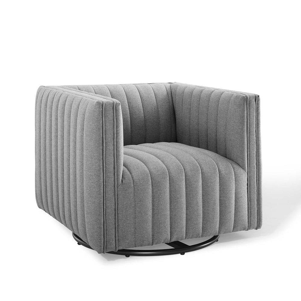 Seneca Light Gray Fabric Swivel Chair