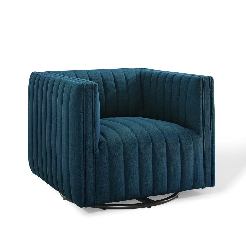 Seneca Navy Fabric Swivel Chair