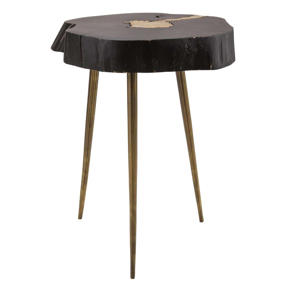 Ketch Wood and Brass End Table